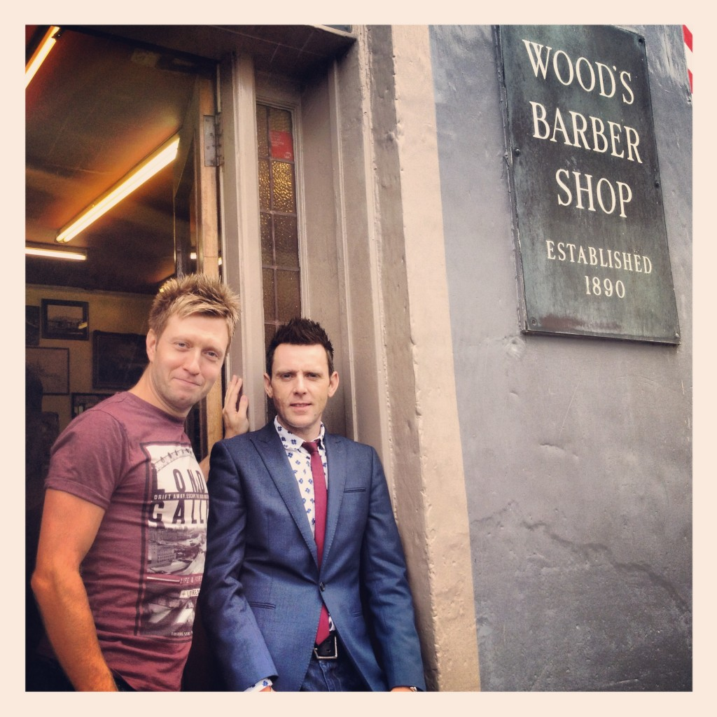 Cal and Andy outside of Woods Barber