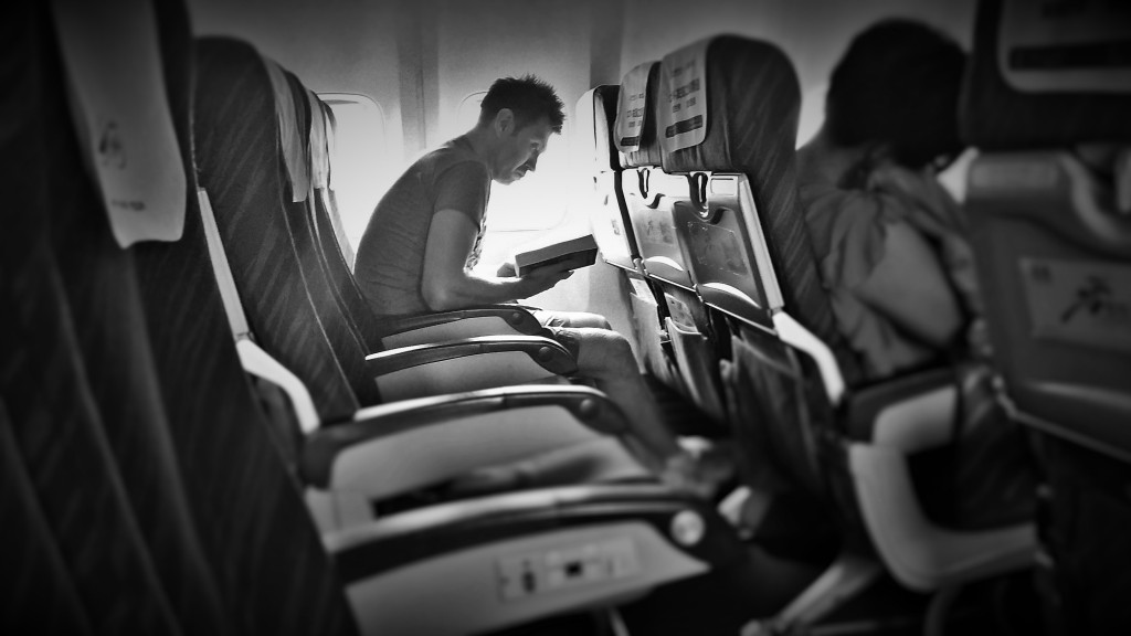 On the way between gigs - the flights were usually pretty empty.