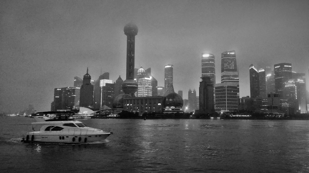 Shanghai Pudong on a hazy night - our hotel was just down the road.